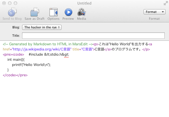 Translate Markdown to HTMLの実行結果