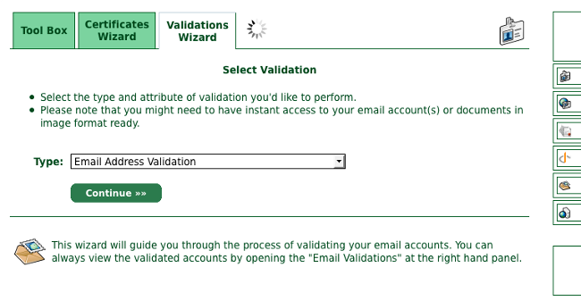 Select Validation画面