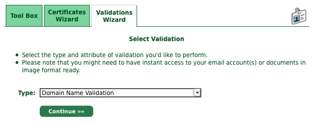 Domain Name Validationを選択